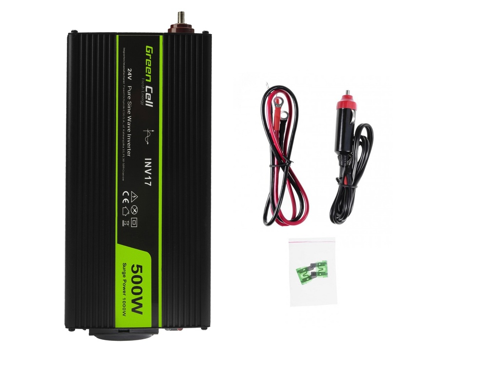 Green Cell ® Voltage Car Inverter 24V to 230V, 500W Full Sine Wave