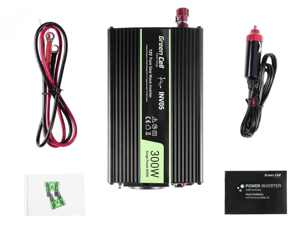 Green Cell ® Voltage Car Inverter 12V to 230V, 300W