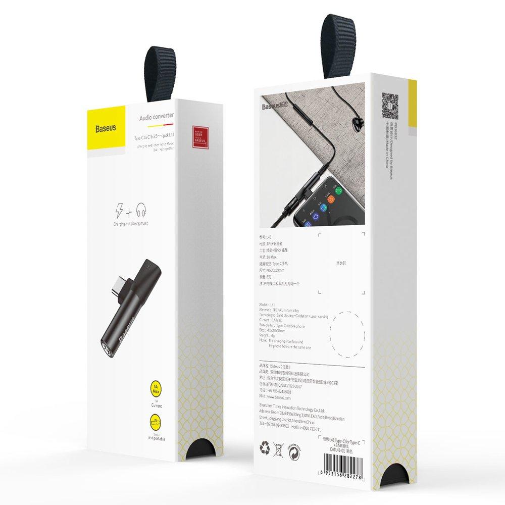 Baseus Audio Converter L41 Adapter from USB-C to USB-C port (female) + headphones jack 3,5 mm (female) black (CATL41-01)