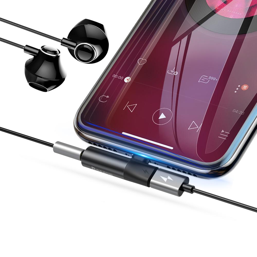 Baseus Audio Converter L43 Adapter from Lightning to Lightning port (female) + headphones jack 3,5 mm (female) black (CALL43-01)