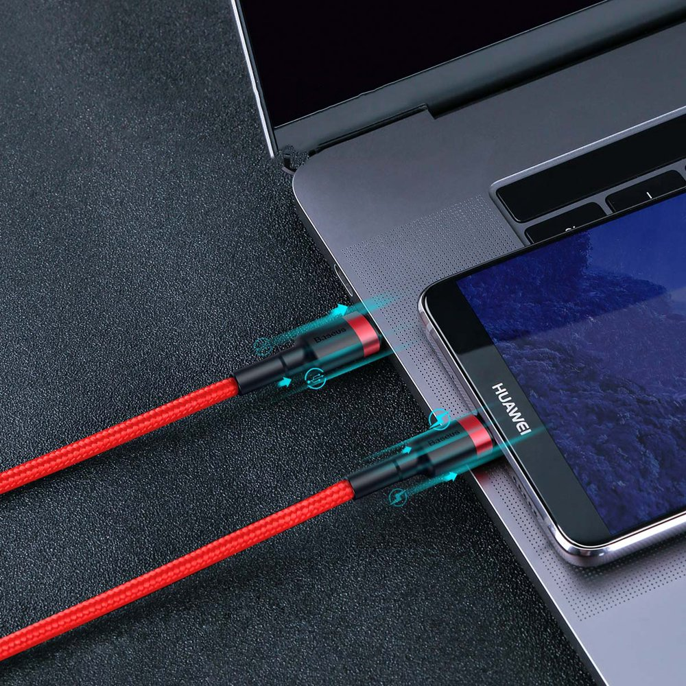 Baseus Cafule Cable Durable Nylon Braided Wire USB-C PD / USB-C PD PD2.0 60W 20V 3A QC3.0 1M black-red (CATKLF-G91)