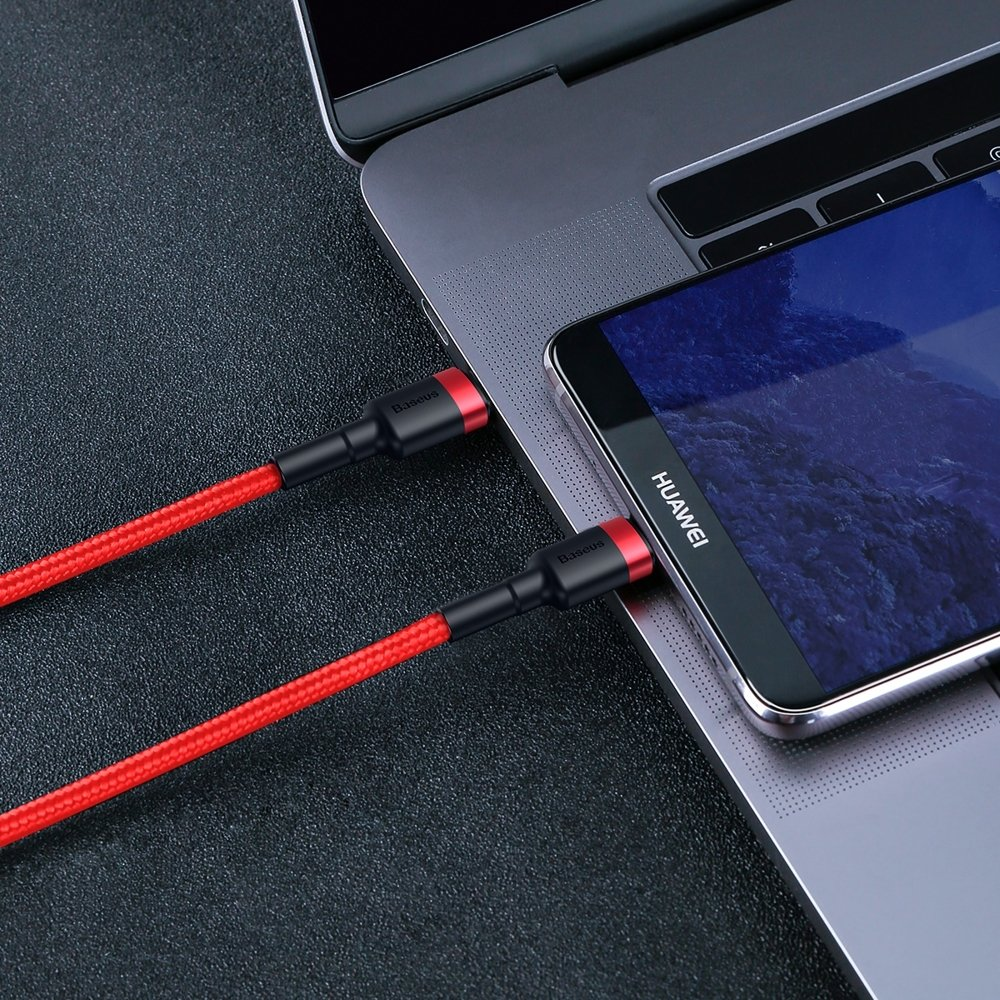 Baseus Cafule Cable Durable Nylon Braided Wire USB-C PD / USB-C PD PD2.0 60W 20V 3A QC3.0 2M red (CATKLF-H09)