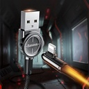 Baseus Exciting Mobile Game Cable USB - Elbow Cable USB / Lightning with Nylon Braid 2.4A 1m Black (CALCJ-A01)