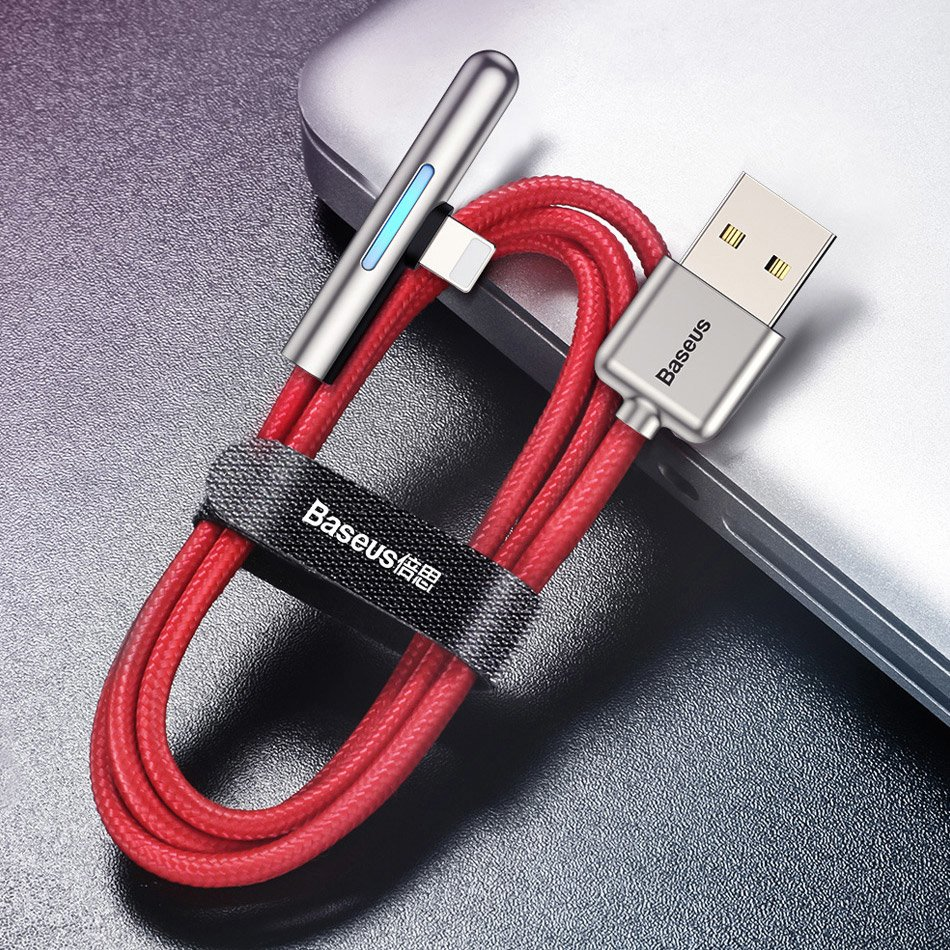 Baseus Mobile Game Elbow Cable USB Lightning with Nylon Braid 2.4A 1m red (CAL7C-A09)