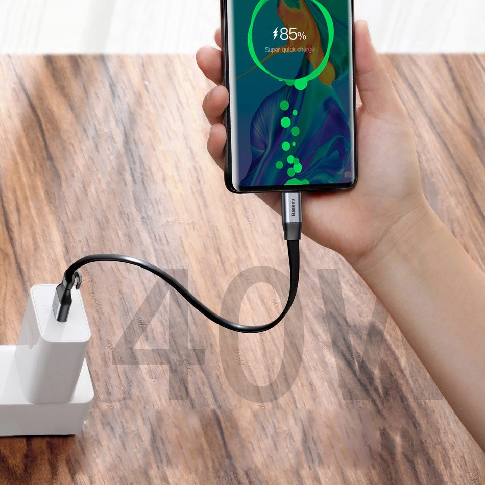 Baseus Simple HW Quick Charge Charging Data Cable USB For Type-C 5A 40W 23cm gold (CATMBJ-BV3)