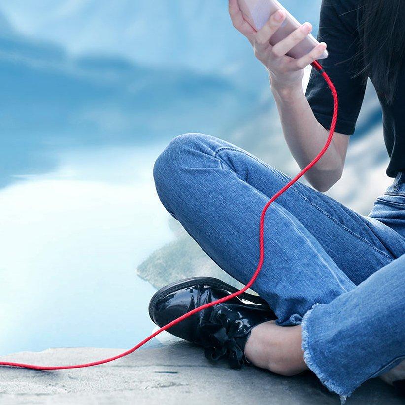 Baseus durable nylon cable USB / USB cable Type C QC3.0 5A 1m black (CATKC-A01)