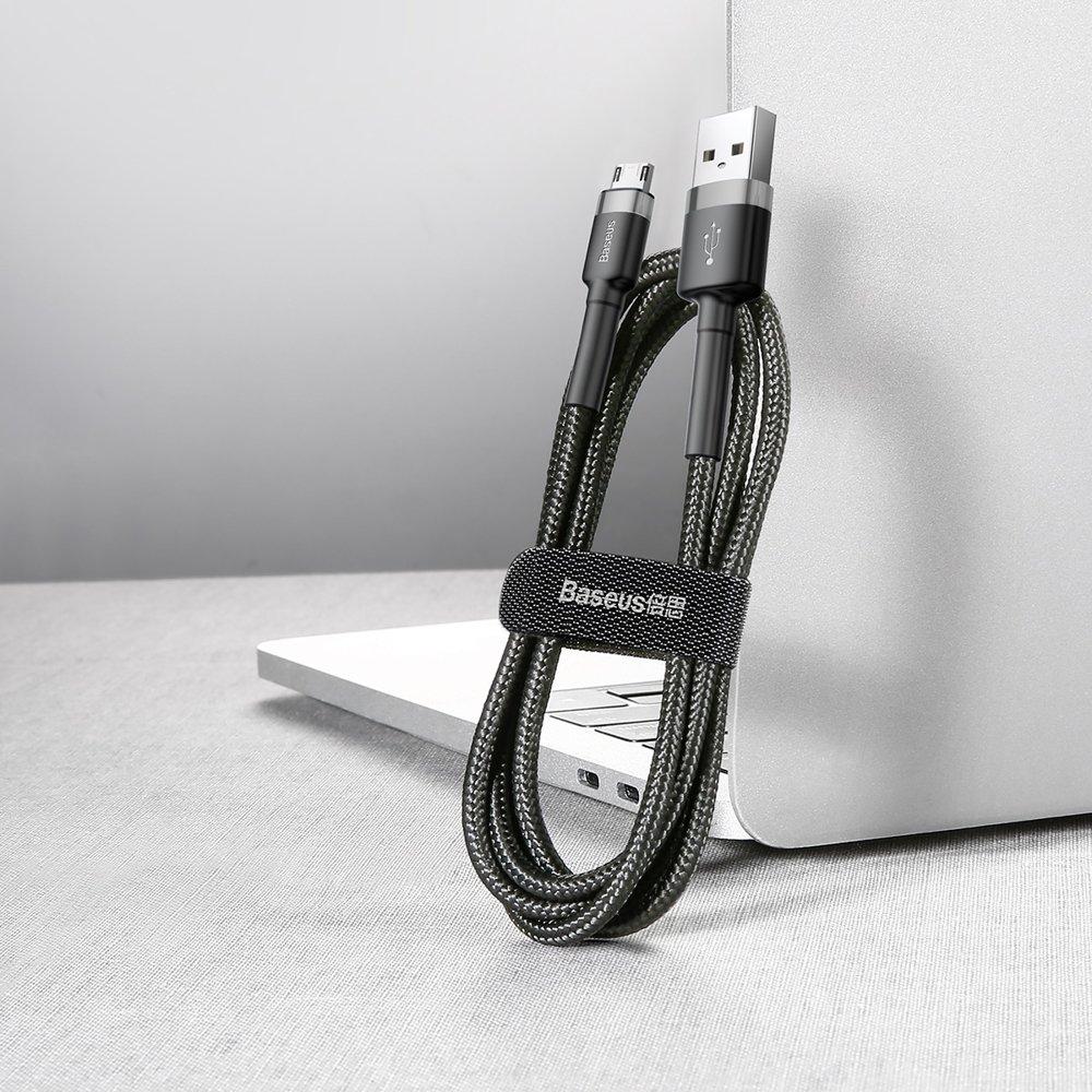 Baseus Cafule Cable Durable Nylon Braided Wire USB / micro USB 2A 3M black-gray (CAMKLF-HG1)
