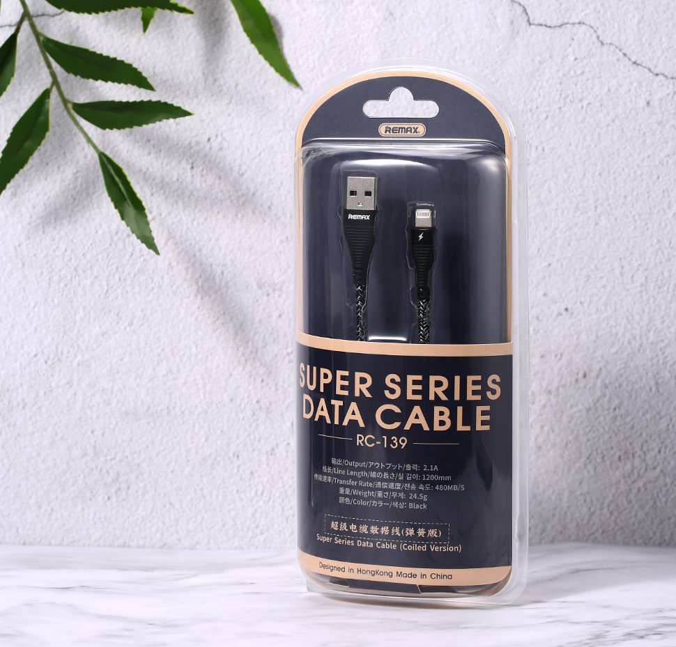 REMAX Super Spring Data Cable with Nylon Wire USB / micro USB 120cm 2.1A black (RC-139m black)