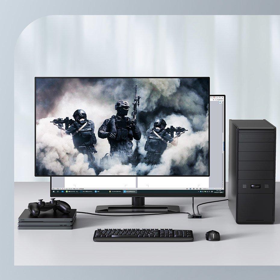 Baseus bidirectional HDMI - 2x HDMI splitter switcher 4K / 30 Hz gray (CAHUB-BC0G)