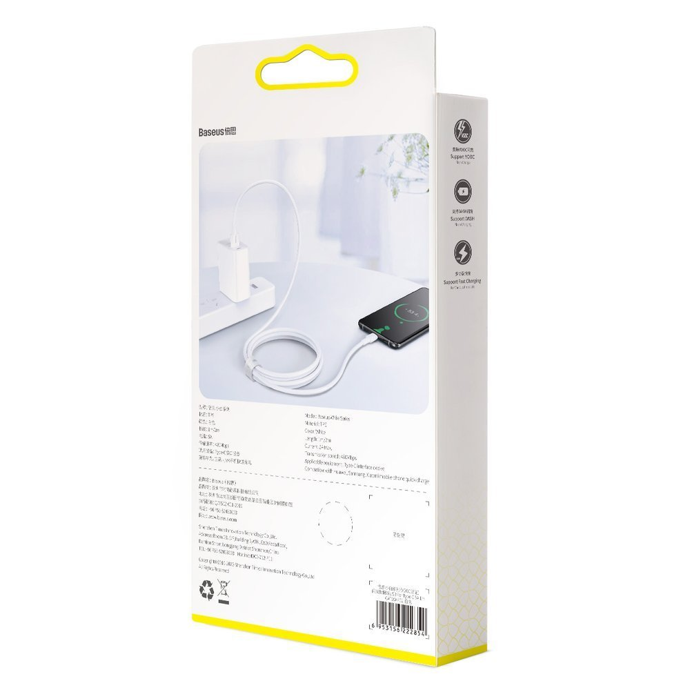 Baseus USB - USB Type C cable VOOC Quick Charge 3.0 5 A 1 m white (CATSW-F02)