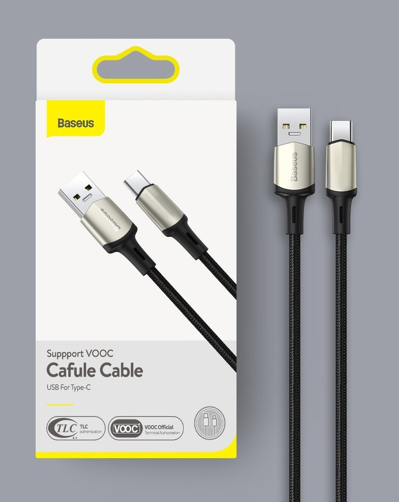 Baseus Cafule Cable Nylon Braided USB - USB Type C cable VOOC Quick Charge 3.0 5 A 1 m black (CATKLF-VA01)