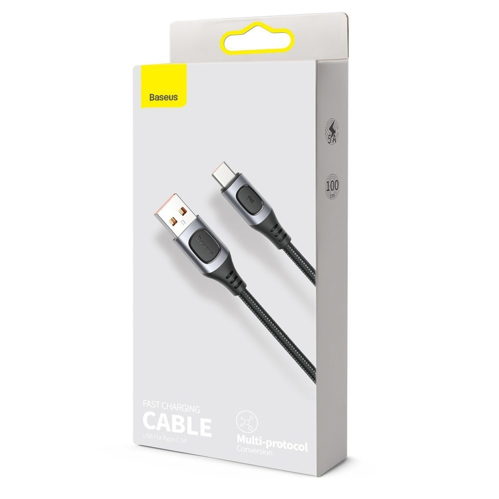 Baseus USB - USB Type C cable Quick Charge, Power Delivery 5 A 1 m gray (CATSS-A0G)