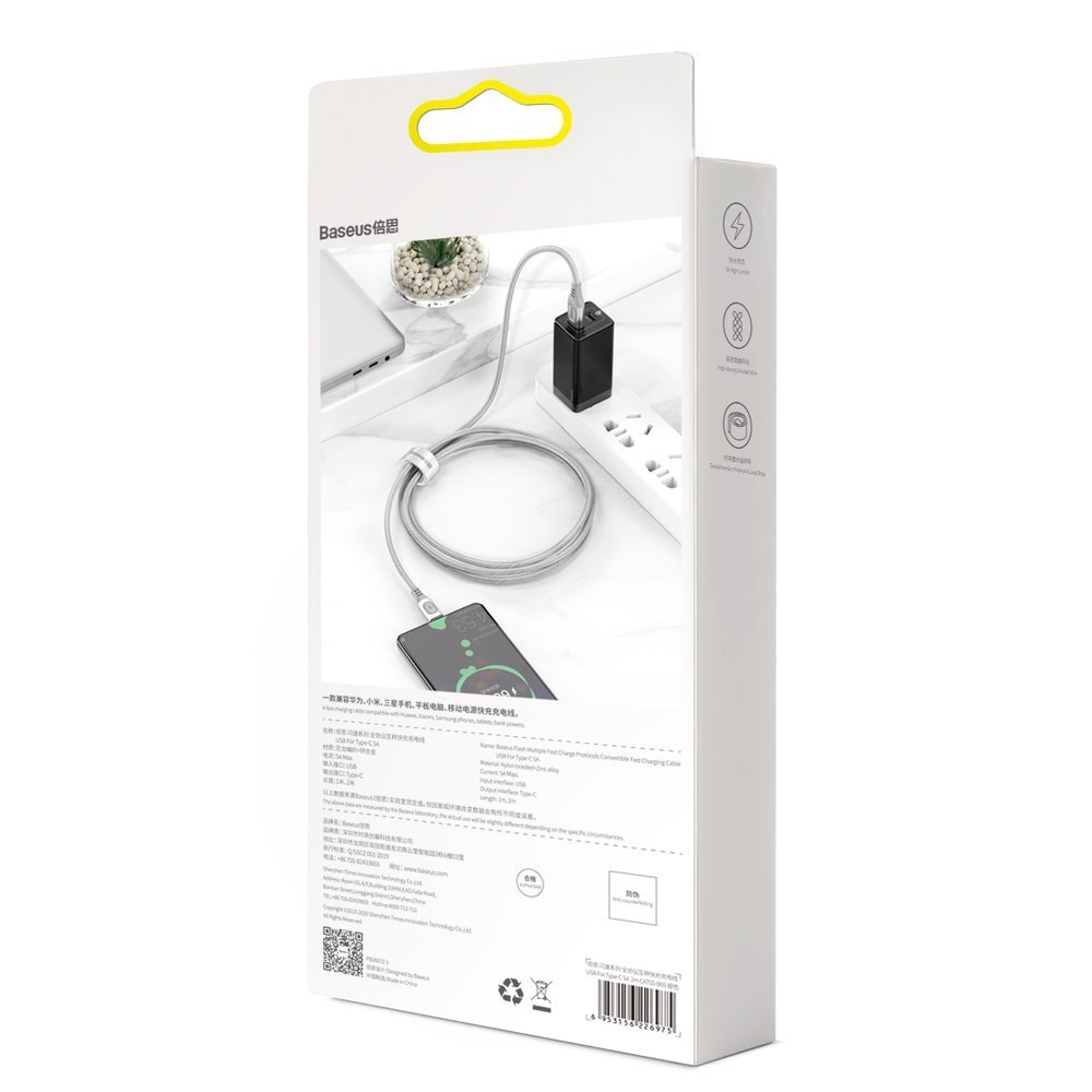 Baseus USB - USB Type C cable Quick Charge, Power Delivery 5 A 1 m silver (CATSS-A0S)