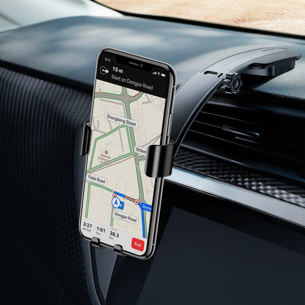 Baseus Metal Age Gravity Car Mount Phone Holder with Adjustable Arm black (SUYL-F01)
