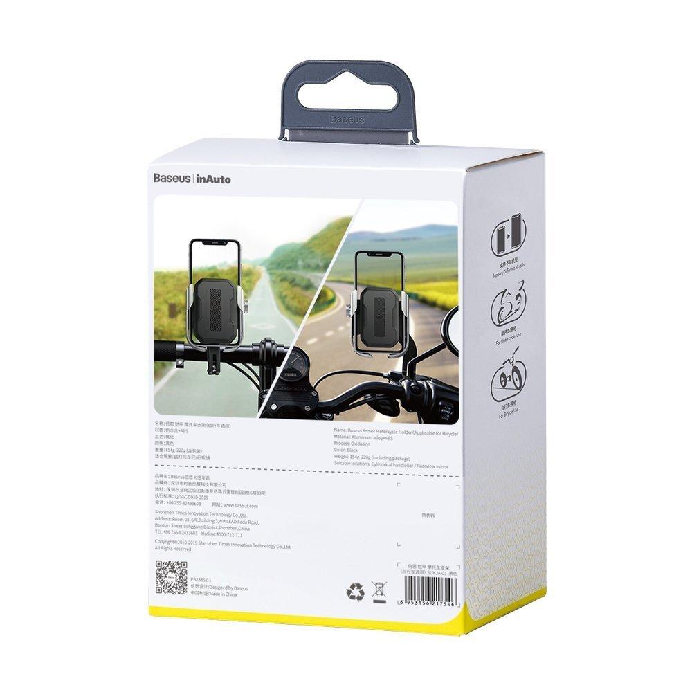 Baseus adjustable phone bike mount holder for handlebar and mirror silver (SUKJA-0S)