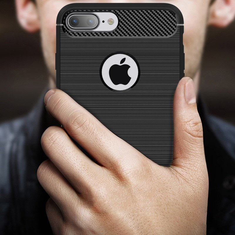 Carbon Case Flexible Cover TPU Case for iPhone 8 / 7 black