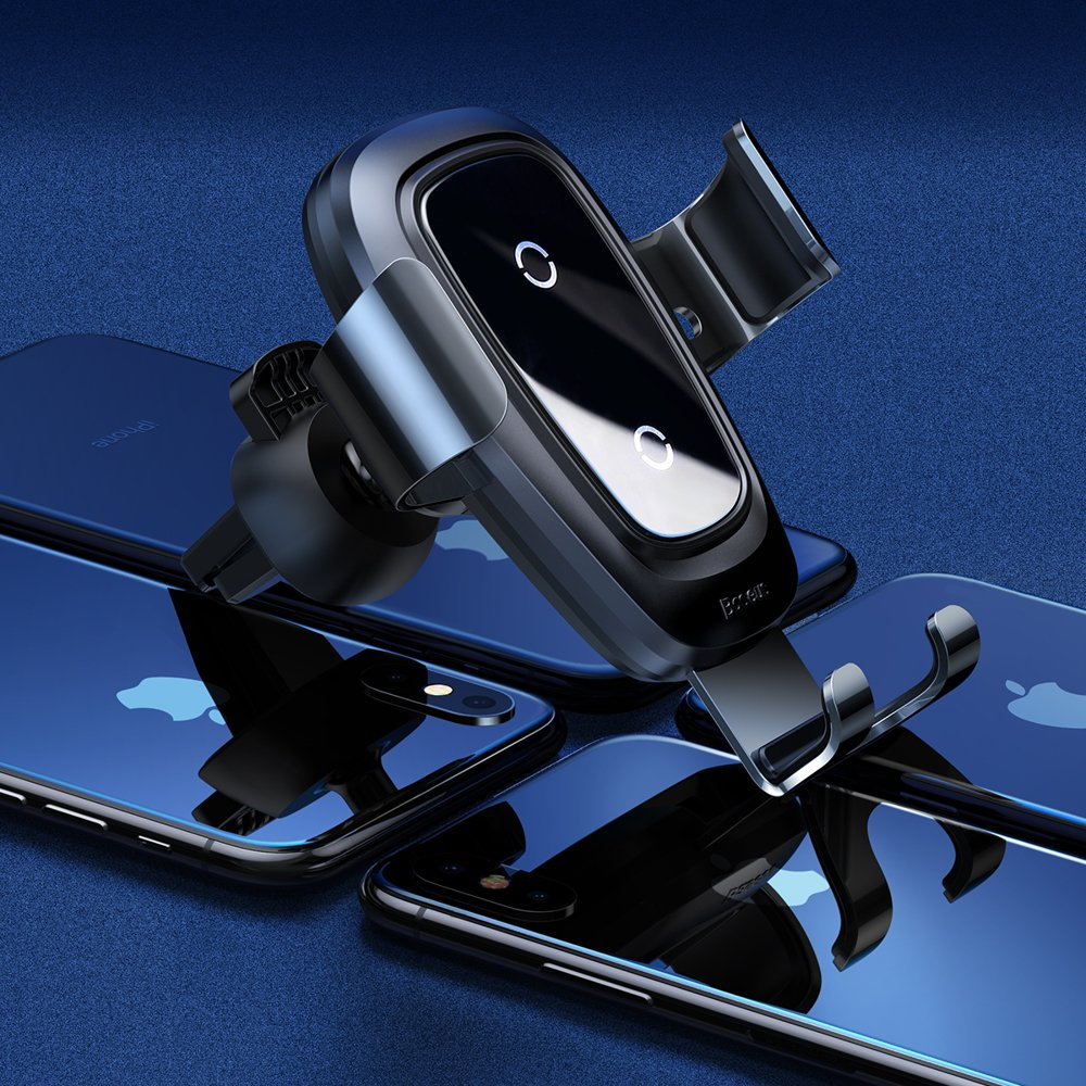 Baseus Metal Gravity Wireless Charger Car Mount Phone Bracket Air Vent Holder Qi Charger black (WXYL-B0A)