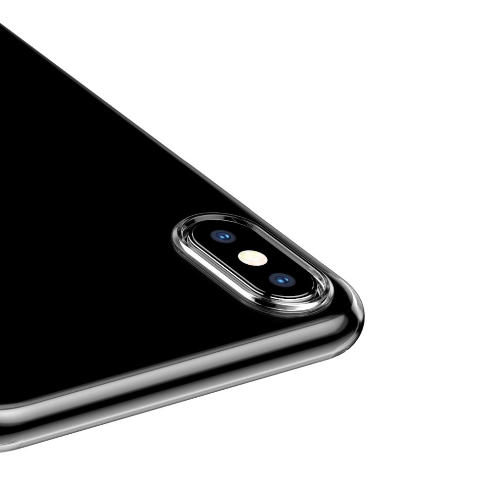 Baseus Simplicity Gel TPU Case Flexible Cover with Dust Plug for iPhone XS / X transparent (ARAPIPH58-A02)