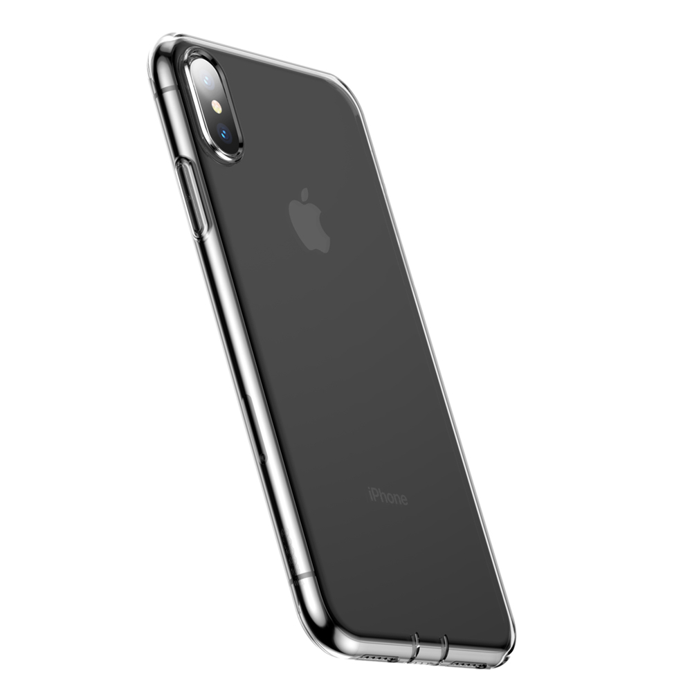 Baseus Simplicity Gel TPU Case Flexible Cover with Dust Plug for iPhone XS Max transparent (ARAPIPH65-A02)