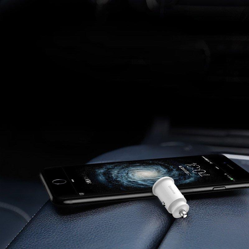 Baseus Grain Car Charger Mini Universal Smart Car Charger 2x USB 3.1A black (CCALL-ML01)