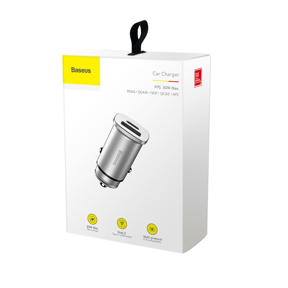 Baseus Square PPS Universal Smart Car Charger USB Quick Charge 4.0 QC 4.0 and USB-C PD 3.0 SCP silver (CCALL-AS0S)