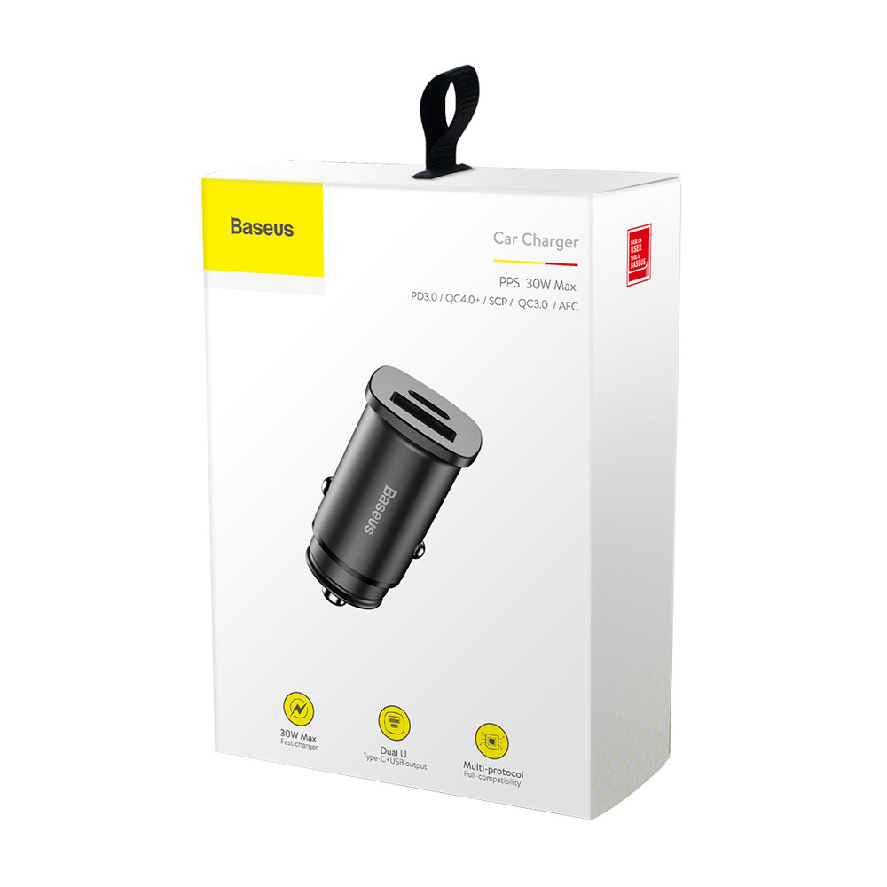 Baseus Square PPS Universal Smart Car Charger USB Quick Charge 4.0 QC 4.0 and USB-C PD 3.0 SCP black (CCALL-AS01)