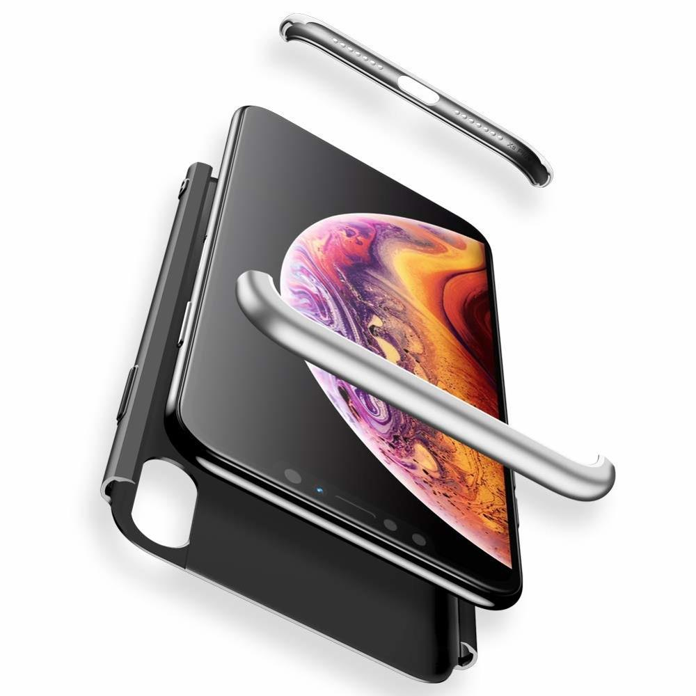 GKK 360 Protection Case Front and Back Case Full Body Cover iPhone XR black-silver