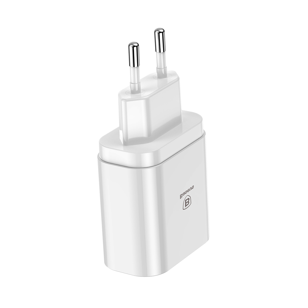 Baseus Mirror Lake Intelligent Travel Charger Adapter Wall Charger with Voltage/Power Display 3x USB 3.4A white (CCALL-BH02)