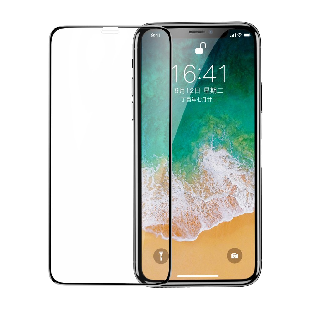 Baseus Full Coverage 3D Tempered Glass Screen Protector for Apple iPhone 11 Pro / iPhone XS / iPhone X black (SGAPIPHX-KC01)