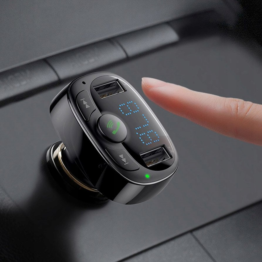 Baseus T-Typed FM Transmitter Bluetooth car charger MP3 2x USB TF microSD 3.4A black (CCTM-01)