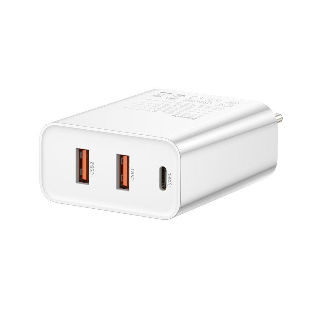 Baseus Speed PPS Quick charger C+U+U 60W EU 2x USB / USB Type C PD Quick Charge 3.0 / 4+ QC3.0 QC4+ white (CCFS-G02)