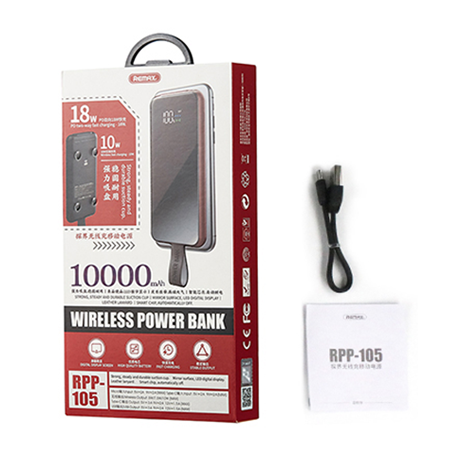 Remax Power Bank 10000mAh 18W Power Delivery with Wireless Charger Qi with suction cup 10W red (RPP-105 red)