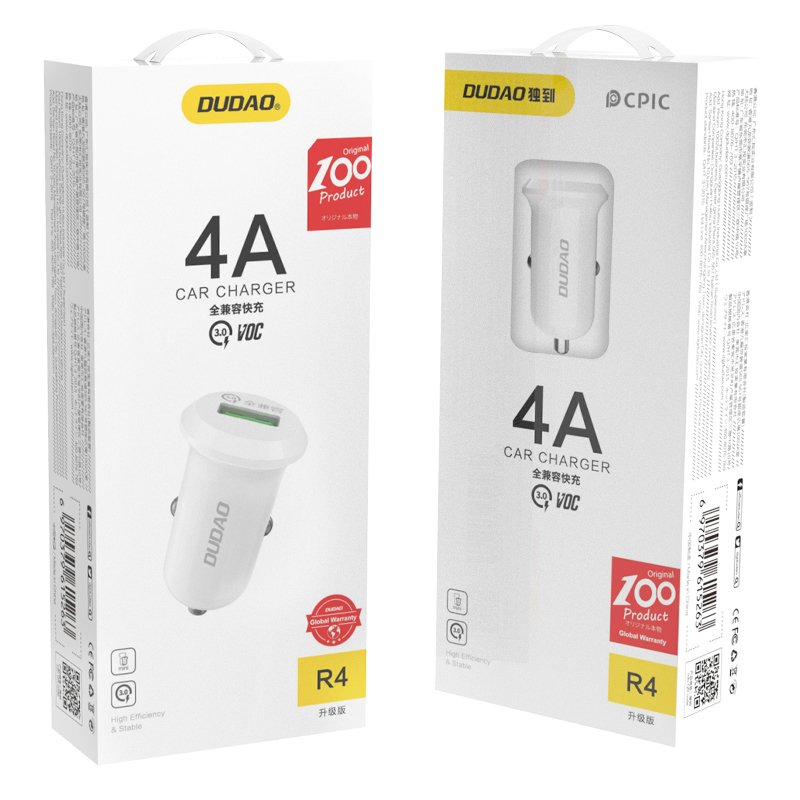 Dudao universal Car Charger USB Quick Charge 3.0 QC3.0 4A 15W white (R4 white)