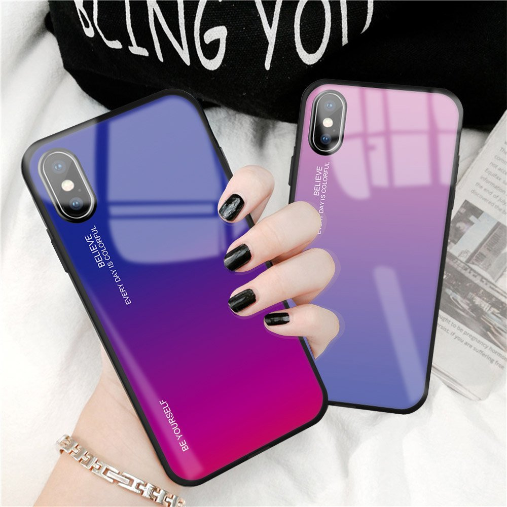 Gradient Glass Durable Cover with Tempered Glass Back iPhone XS Max pink-purple