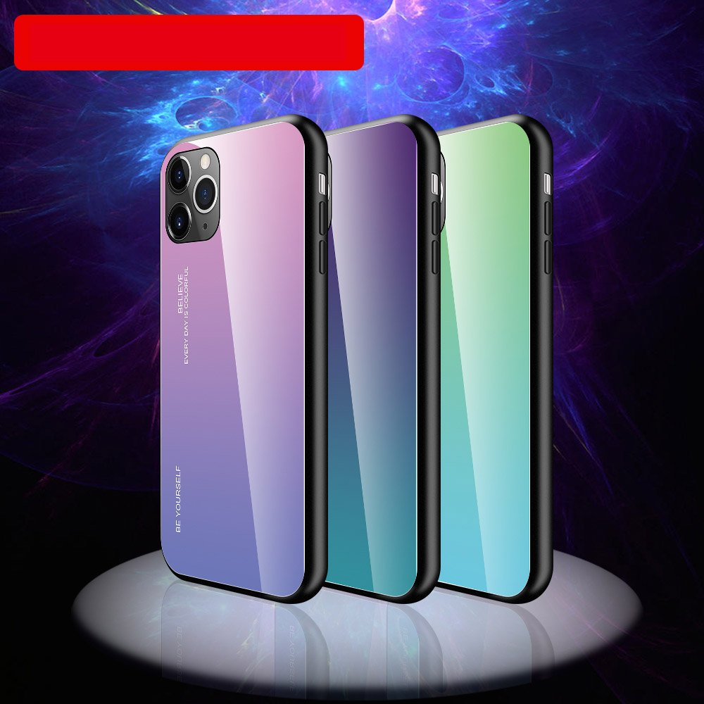 Gradient Glass Durable Cover with Tempered Glass Back iPhone 11 Pro pink-purple