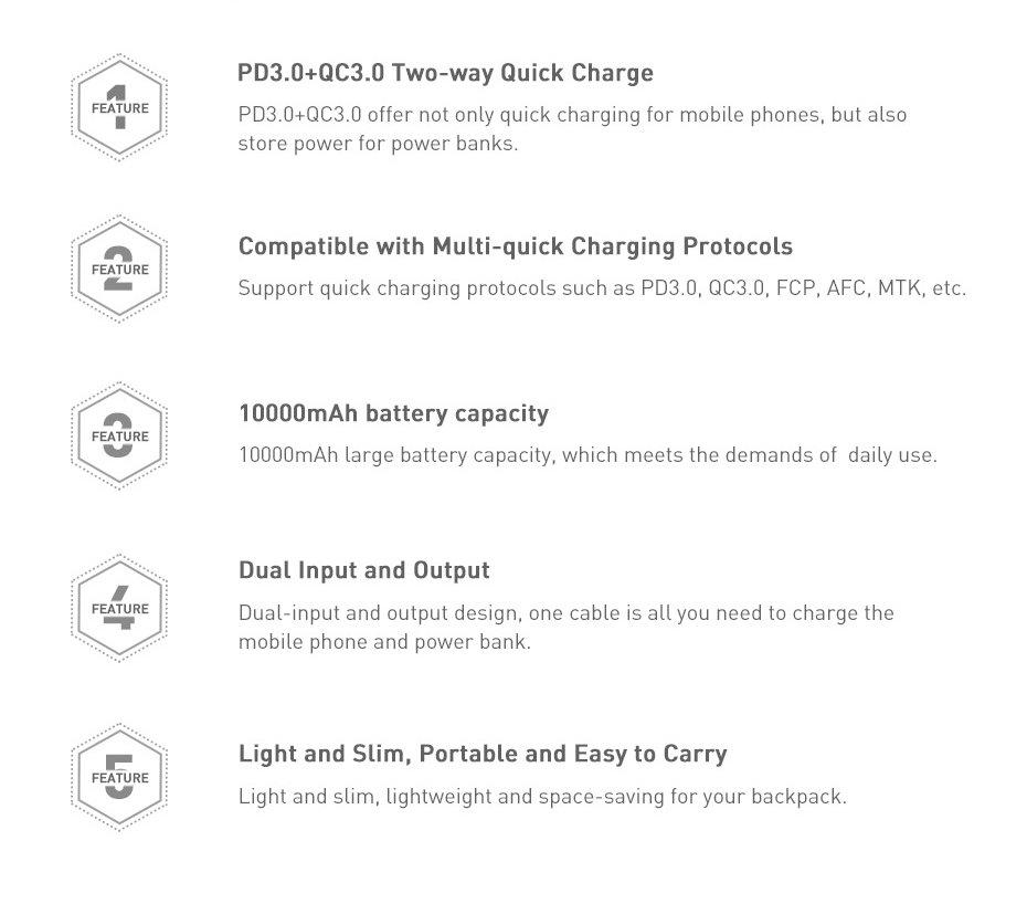 Baseus Bipow power bank 10000mAh 2x USB / 1x USB Typ C Power Delivery 18W Quick Charge 3.0 black (PPDML-01)