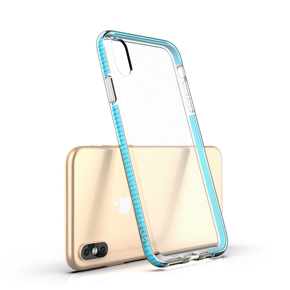 Spring Case clear TPU gel protective cover with colorful frame for iPhone XS Max light pink