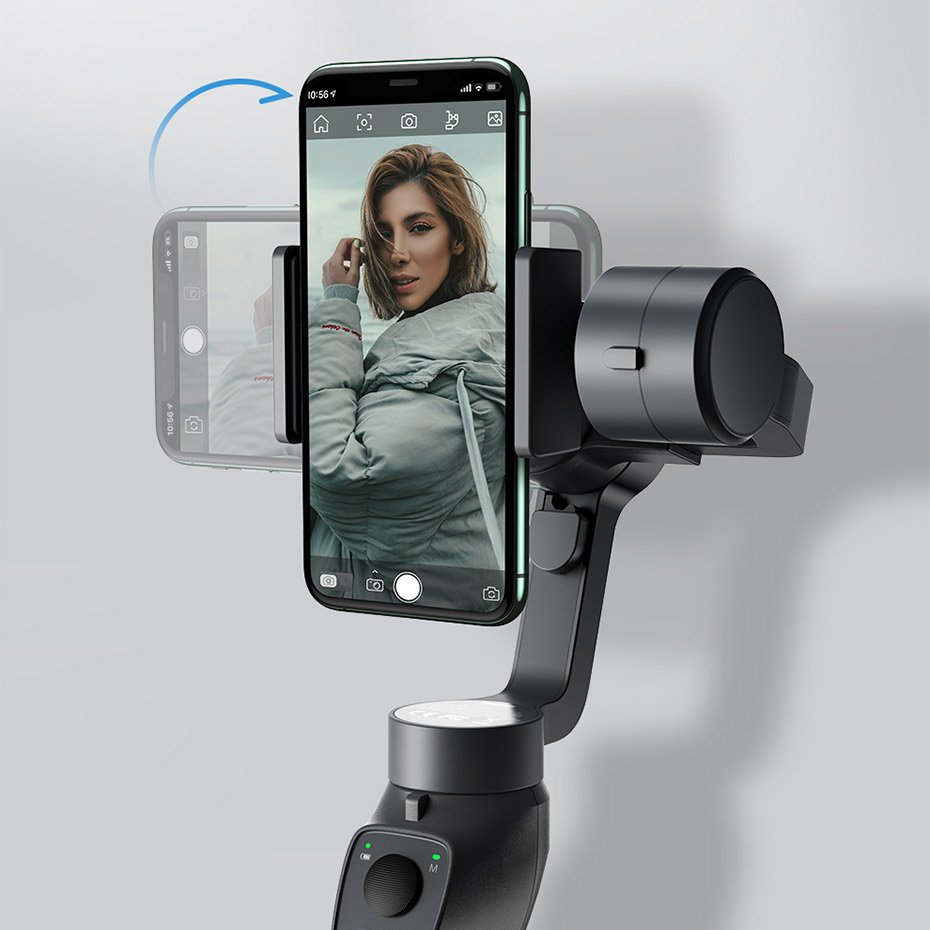 Baseus 3-Axis Smartphone Handheld Gimbal Stabilizer for photos and video recording iOS Android compatible Live Vlog YouTube TikTok  gray (SUYT-0G)