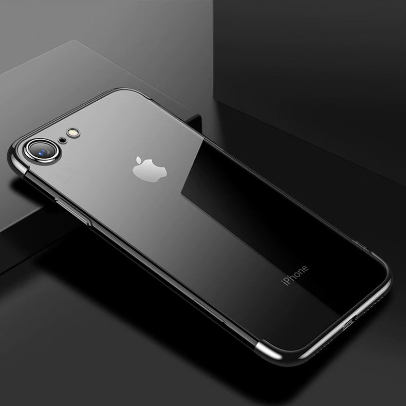 Clear Color Case Gel TPU Electroplating frame Cover for iPhone SE 2020 / iPhone 8 / iPhone 7 black