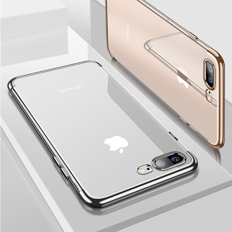 Clear Color Case Gel TPU Electroplating frame Cover for iPhone 8 Plus / iPhone 7 Plus blue