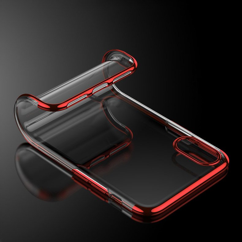 Clear Color Case Gel TPU Electroplating frame Cover for iPhone XS / iPhone X black