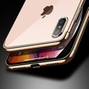 Clear Color Case Gel TPU Electroplating frame Cover for iPhone XS / iPhone X blue
