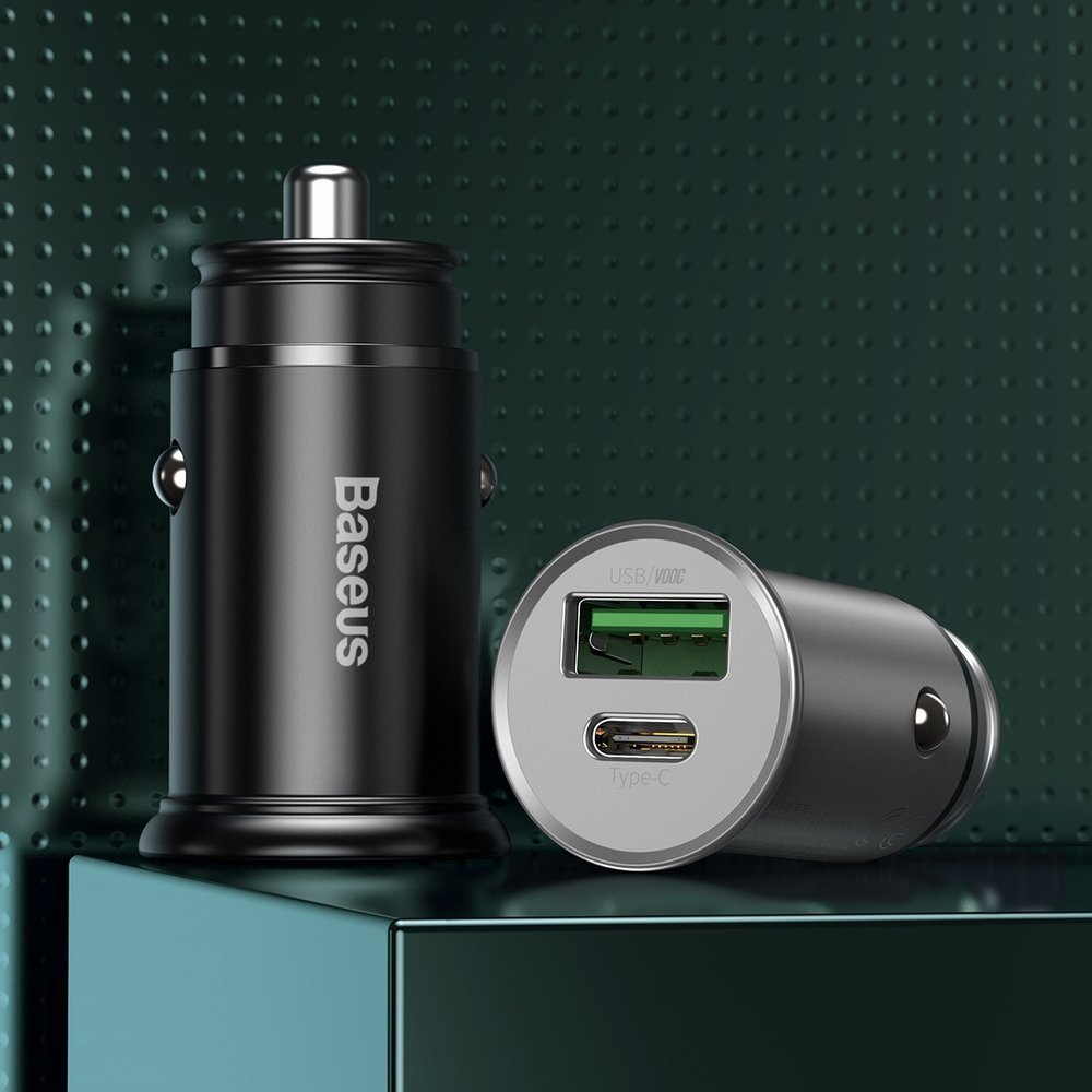 Baseus PPS quick car charger USB / USB Typ C Quick Charge 4.0 QC4+ Power Delivery 3.0 VOOC SCP AFC MTKPE silver (CCYS-C0S)