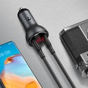 Baseus car charger USB / USB Type C 45 W 5 A SCP Quick Charge 4.0+ Power Delivery 3.0 LCD display gray (CCBX-C0G)