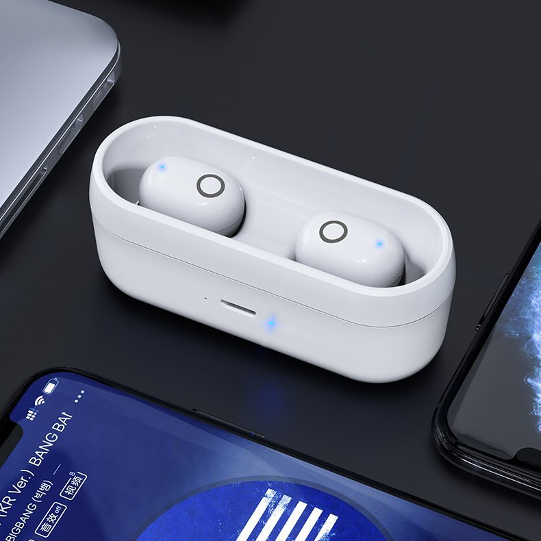 Proda TWS Blutooth 5.0 True Wireless Earbuds with Wireless Charging Case white (PD-BT500 white)