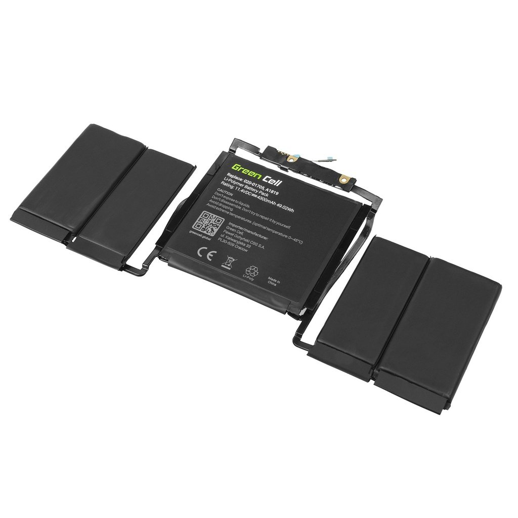Green Cell Battery for Apple MacBook Pro 13 A1706 Touch Bar (Late 2016, Mid 2017) / 11,4V 4300mAh