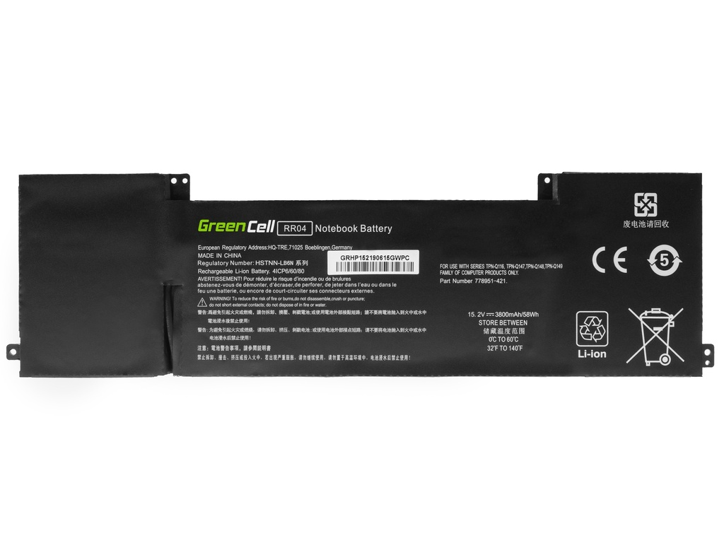 Laptop Battery Green Cell RR04 for HP Omen 15-5000 15-5000NW 15-5010NW, HP Omen Pro 15