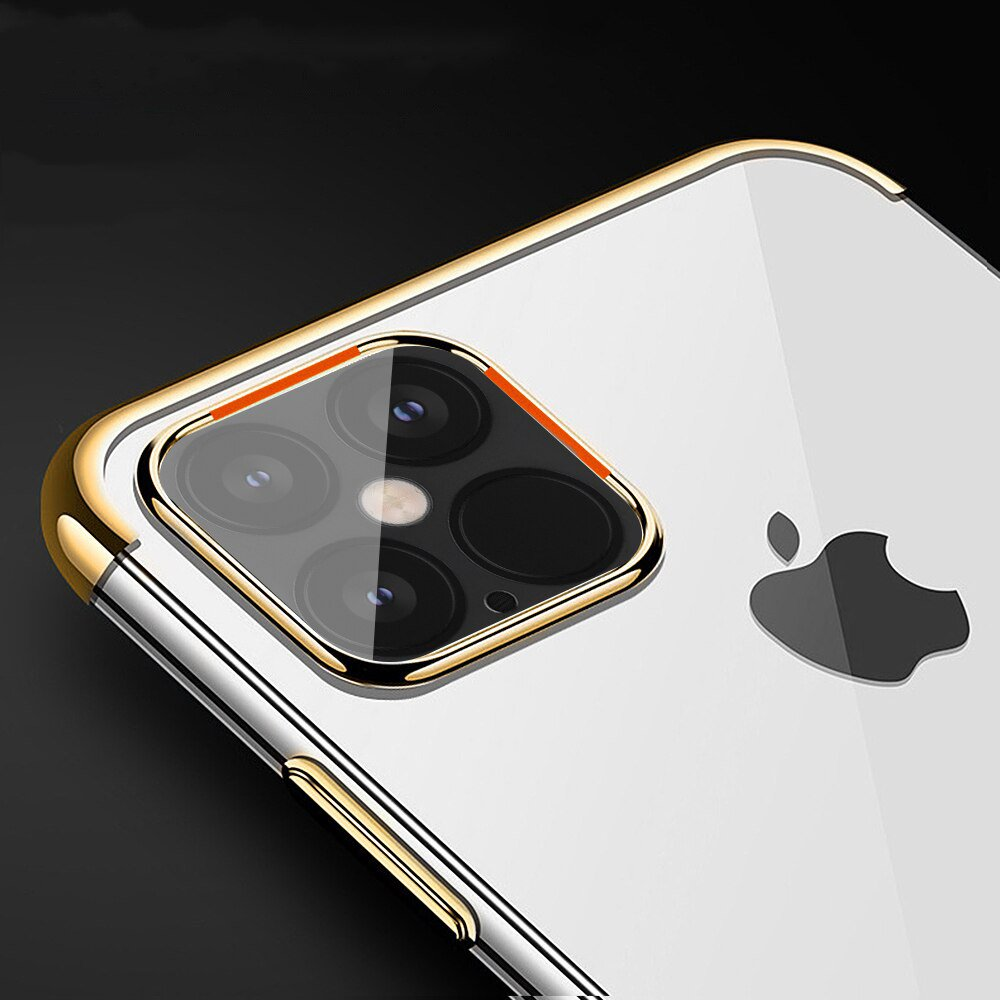 Clear Color Case Gel TPU Electroplating frame Cover for iPhone 12 6,1'' red