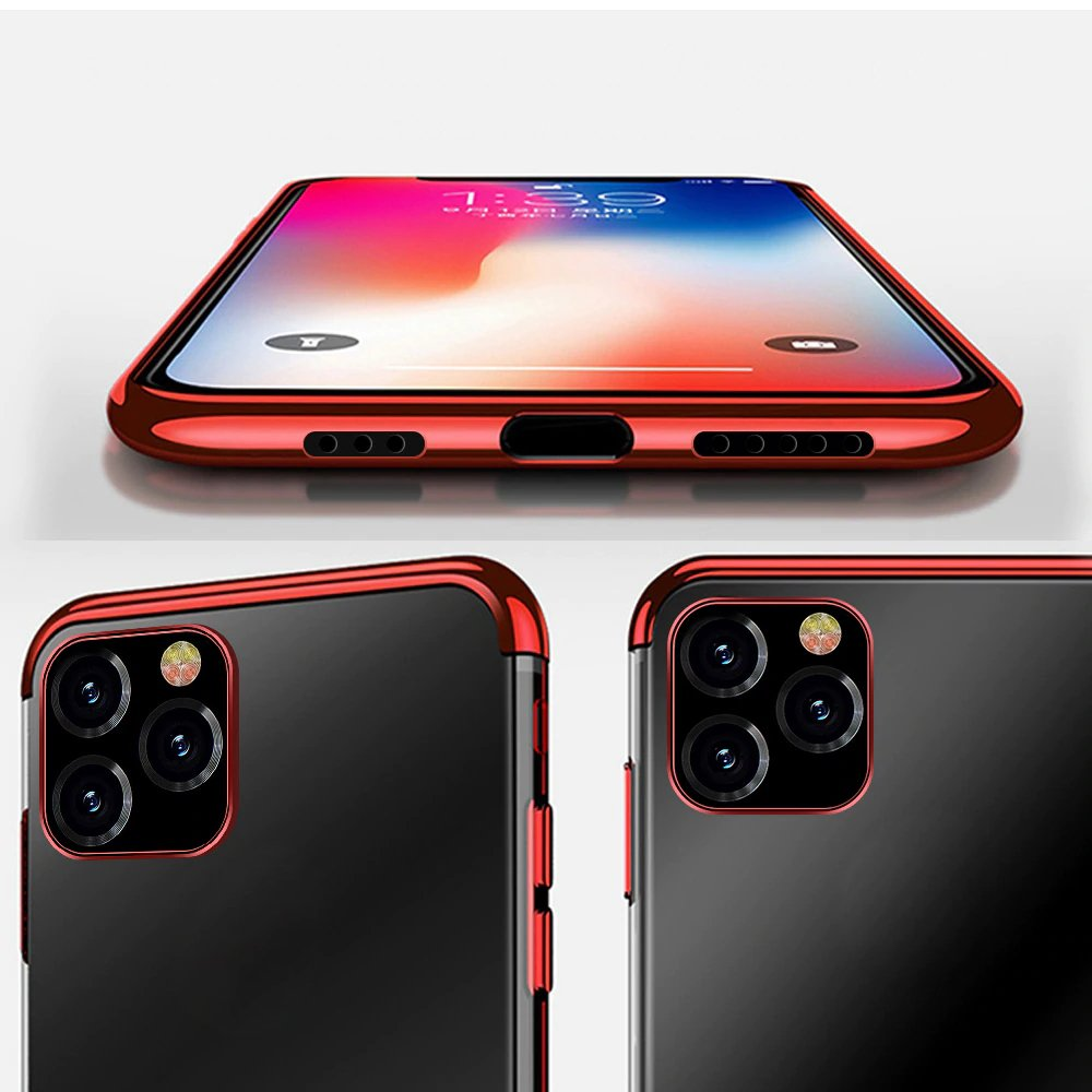 Clear Color Case Gel TPU Electroplating frame Cover for iPhone 12 6,7'' red