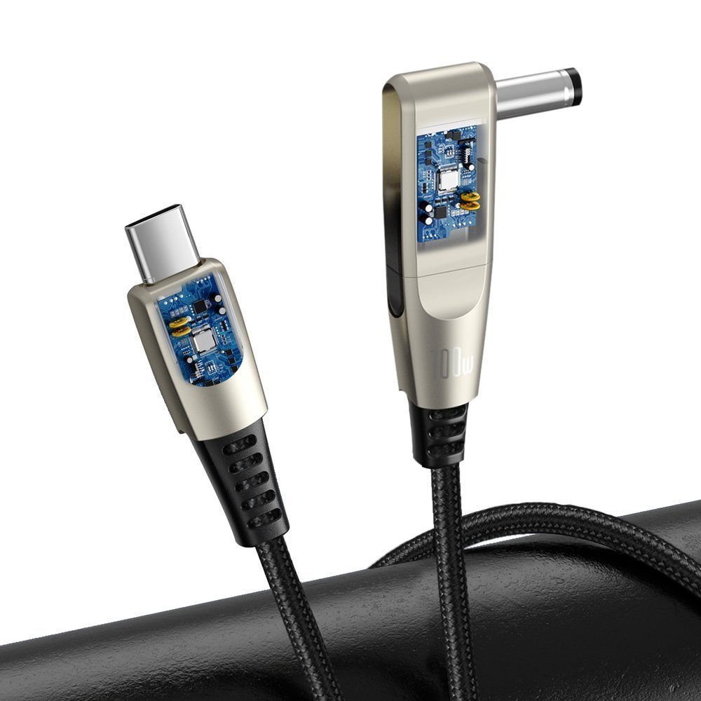 Baseus 2in1 USB - USB Typ C data charging cable / 5,5 mm x 2,5 mm DC Adapter laptop plug 2 m 100 W 5 A black (CA1T2-A01)